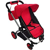 Modern Babyboo Doll Stroller -SUPERIOR QUALITY Red Quilted Fabric- NEW LUXURY COLLECTION - Adjustable Height - FREE