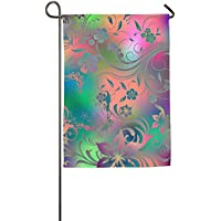 DFGTLY Fashion Personalized Garden Flag,Glitter Flowers Garden Flag-12