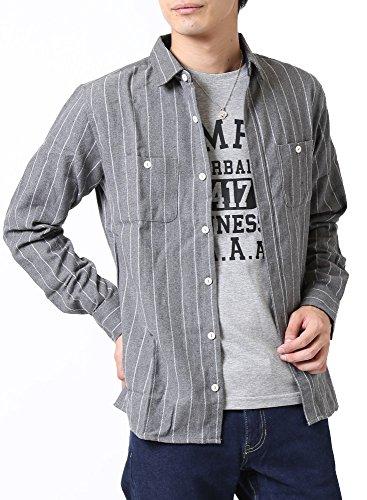 (アーケード) ARCADE ネルシャツ メンズ ボタンダウン チェックシャツ レギュラーカラー 秋 冬 無地 ストライプ LL ストライプグレー