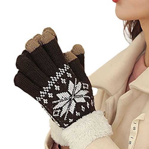 Alaixニット手袋 モコモコ裏ボア 男女兼用 保温 防寒 自転車通勤手袋 5本指 厚手 ニット手袋 冬 クリスマス雪柄 プレゼント スマホ対応 グローブ 雪柄 コーヒー