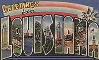 Greetings from Louisiana (ブルー/ホワイトトリム) 16 x 24 Giclee Print LANT-6915-16x24