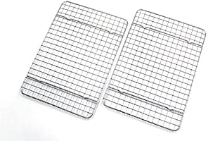 Checkered Chef Cooling Racks for Baking - Quarter Size - Stainless Steel Cooling Rack/Baking Rack Set of 2 - Oven Safe...