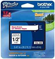 Brother P-touch ~1/2 (0.47) Red on White Standard Laminated Tape - 26.2 ft. (8m) by Brother