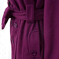 SLAE Women's Warm Winter Hooded Long Coat Belt Double Breasted Jacket Outwear Purple XXXL