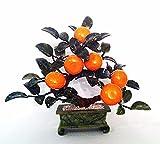 1PCの手作りstonecarving人工翡翠とガラスオレンジ盆栽ツリー