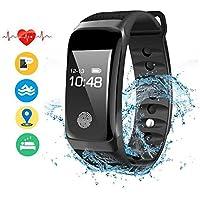 ANBURT スマートウォッチ 血圧計 心拍計 歩数計 スマートブレスレット 睡眠検測 アラーム 多機能 着信電話通知 スマート電子腕時計 IP67防水 iPhone/iOS/Android 日本語対応