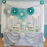(150cm x 260cm, Silver) - B-COOL 150cm x 260cm Rectangle Silver sequin Tablecloth Sequin Table Linens Glitter Tablecloth Wedding Sequin Tablecloth for Christmas