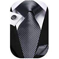 Dubulle Mens Solid Tie Pocket Square Cufflinks Woven Silk Necktie Set for Business Wedding