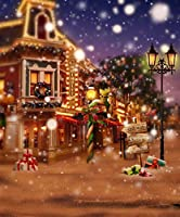 ファンタジーフェアリークリスマス背景フォトスタジオ装飾家Holiday Night Streetブラウン床写真ブースの背景幕8x 10ft
