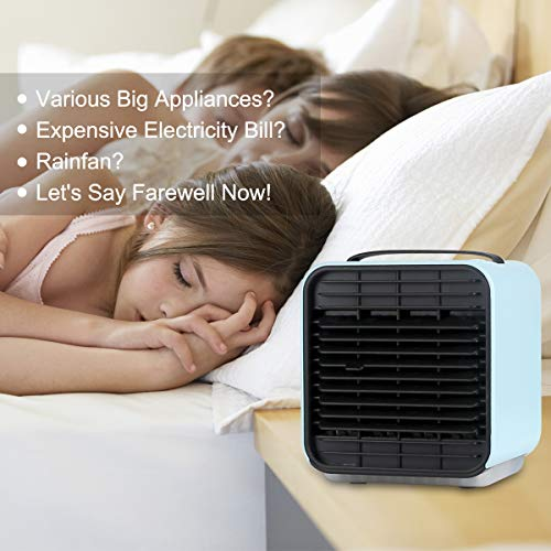 Mini USB Air Conditioner Fan, 3 in 1 Mini USB Personal Misting Table Fan, 5.2-Inch Mini USB Cooler, Portable Air Humidifier, Air Purifier, Desktop Cooling Fan LED Light for Home Office More (Blue)