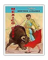メキシコシティ - 闘牛マタドール - ウェスタン航空 - ビンテージな航空会社のポスター によって作成された ホセ・マリア・チューサー・バスケス c.1960s - アートポスター - 41cm x 51cm