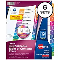 Ready Index Contemporary Contents Divider, 1-12, Multicolor, Letter, 6 Sets