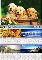 Puppy Pals–500ピースジグソーパズルPuzzlebug +ボーナス2017磁気カレンダー–(バンドル–2アイテム)