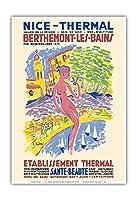 ニース、フランス - スパ - Berthemont-les-Bainsの、フランス - 健康 美しさ - ビンテージな世界旅行のポスター によって作成された アンリ・ル・モニエ c.1950 - アートポスター - 33cm x 48cm