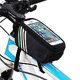 FSDUALWIN 自転車 フレームバッグ 5.5インチまで対応 サイクリングフレームバッグ スマホホルダー 大容量収納 簡単装着 自転車用バッグ サドルバッグフロントバッグ iphone 6s plus/iphone 7plus対応