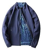 chenshiba-JP メンズ軽量花柄ジャケットコートダブルサイドウェア Blue XXL