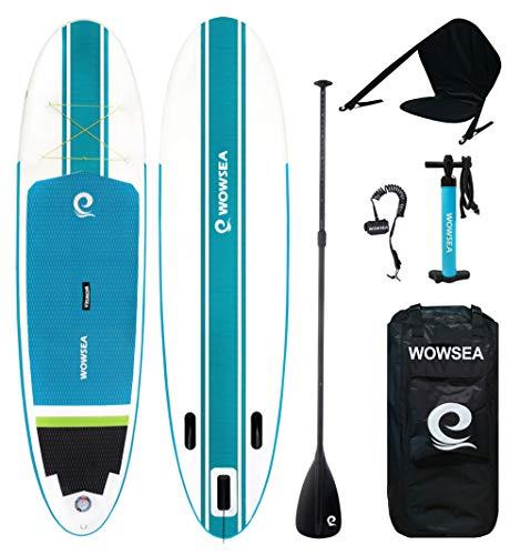 WOWSEA SUP サップ インフレータブル スタンドアップパドルボード【2019新型】 カヤックシート付き 積載重量130-150kg 安定性抜群 滑り止め ヨガ 釣り マリンスポーツ 海
