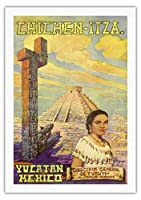 チチェン?イツァ - ユカタン、メキシコ - エルカスティーヨマヤのピラミッド - ビンテージな世界旅行のポスター によって作成された フローレスESPの c.1950s - キャンバスアート - 69cm x 102cm キャンバスアート(ロール)