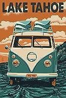 Lake Tahoe–VW Van Letterpress 16 x 24 Signed Art Print LANT-46476-709
