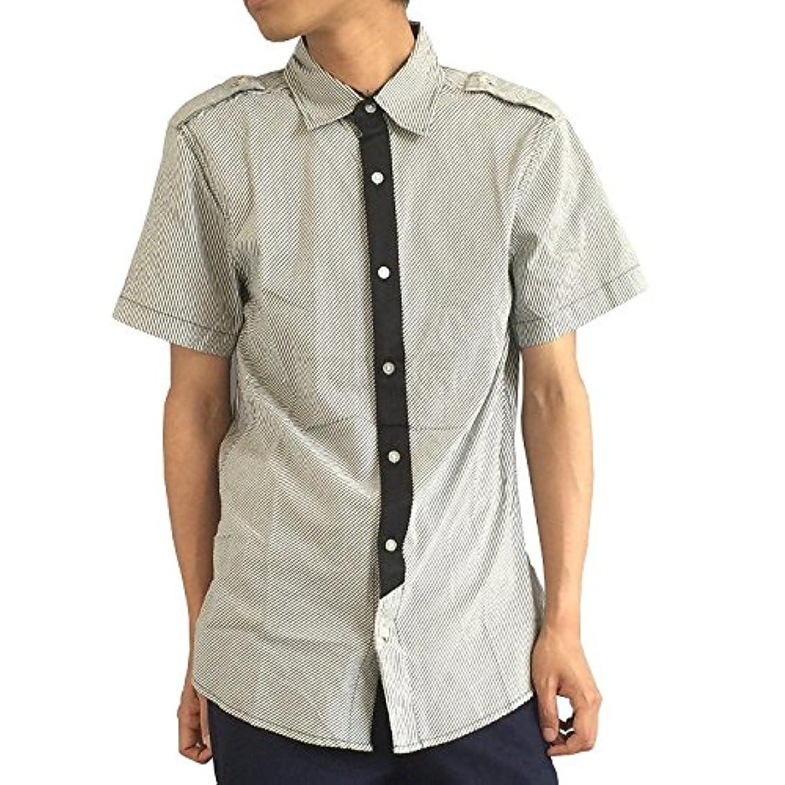 いつか隔離ヶ月目エポレット付きフェイクタイ ストライプ半袖ロング丈シャツ[2color] 父の日 #TS867