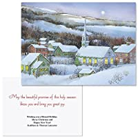 Snowyイブニング注意カードサイズPersonalized Christmas Cards ( Set of 20 )