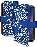 Xperia XZ Premium ケース 手帳型 ハート ダーク ブルー おしゃれ シンプル スマホケース エクスペリア プレミアム 手帳 カバー XperiaXZ SO-04J so04jケース so04jカバー ハート柄 ファッション [ハート ダーク ブルー/t0689d]