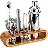 BRITOR Bartender Kit,Bar Set Cocktail Shaker Set,10-Piece Bar Tool Set with Stylish Bamboo Stand - Perfect Home Bartending Kit and Martini Cocktail Shaker Set for an Awesome Drink Mixing Experience