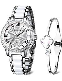 0dcaf9785a BINLUNセラミッククォーツレディース腕時計シルバー防水日付ダイヤモンド ...
