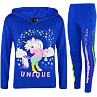 Kids Girls Dabbing Unicorn Unique Hooded Royal Blue Top Legging Floss Tracksuits