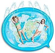 噴水プール 噴水マット 2-3人水遊び マット 180cm*150cm超大サイズ 夏対策 親子遊び 芝生遊び アウトドア 子供/大人用 楕円形