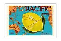 太平洋ブランド - ジョンストンフルーツ - 太平洋マップ - 柑橘類 - ビンテージなフルーツの木箱のラベル c.1917 - アートポスター - 76cm x 112cm