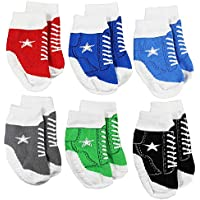 WADDLE Boys Sport Socks All Star Hi-Top Sneaker Tennis Gym Shoes 6 Pairs Newborn 0-12 Months | Favorite Baby Shoe Socks Cute Gripper Kicks Holiday Gift Set Stocking Stuffer Soft Sole Crib Shoes