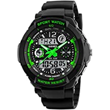 Mens Boys Sports Waterproof Digital Dual Time LED Shock Watch Military Multifunctional Analog Wristwatch with Alarm Stopwatch Black