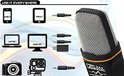 ZaxSound Professional Cardioid Condenser Microphone for PC, Laptop, iPhone, iPad, Android Phones, Tablets, xBox and YouTube Recording With Tripod Stand (Black)