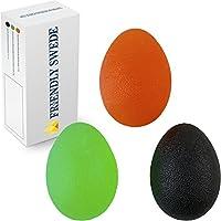北欧スウェーデン発「The Friendly Swede」エッグシェイプハンドエクササイズボール 卵型ハンドグリップ(硬さレベル3種:ソフト、ミディアム、ハード)握力トレーニング リハビリテーションにも