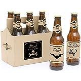 Happy Halloween - 6 Halloween Party Beer Bottle Labels with 1 Beer Carrier