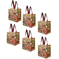 Earthwise Reusable Grocery Shopping Bags Extremely Durable Multi Use Large Foldable Water - Resistant Totes Stylish Fun Design - Farmers Market (Pack of 6)
