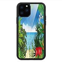 iPhone 11 Pro Max 用 強化ガラスケース クリア 薄型 耐衝撃 黒 カバーケース リーフ ジャングル海岸オーシャン島 iPhone 11 Pro 2019用 iPhone11 Proケース用