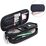 Samtour Makeup Bag Portable Makeup Pouch Holder Makeup Brush Cosmetic Organizer 2 layer Preminm Nylon Durable Makeup Case with Mirror for Travel Gift for Women Girls