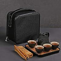 E & AポータブルTeaセット旅行セラミック磁器お茶WareティーポットCanister Teacups Teaクリップタオルトレイ ブラック