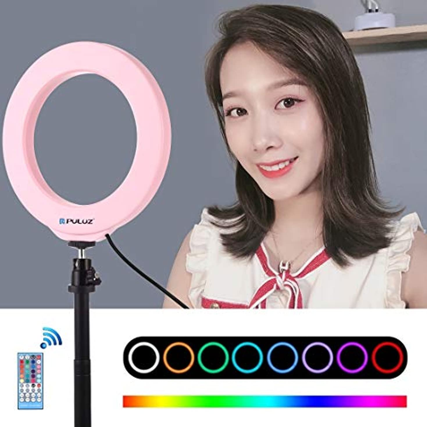 名誉ある生き物助手カメラサポート コールドシュー三脚ボールヘッド&リモートコントロール(ブラック)付き6.2インチ16センチメートルUSB RGBW調光LEDリングVlogging写真ビデオライト. (Color : Pink)