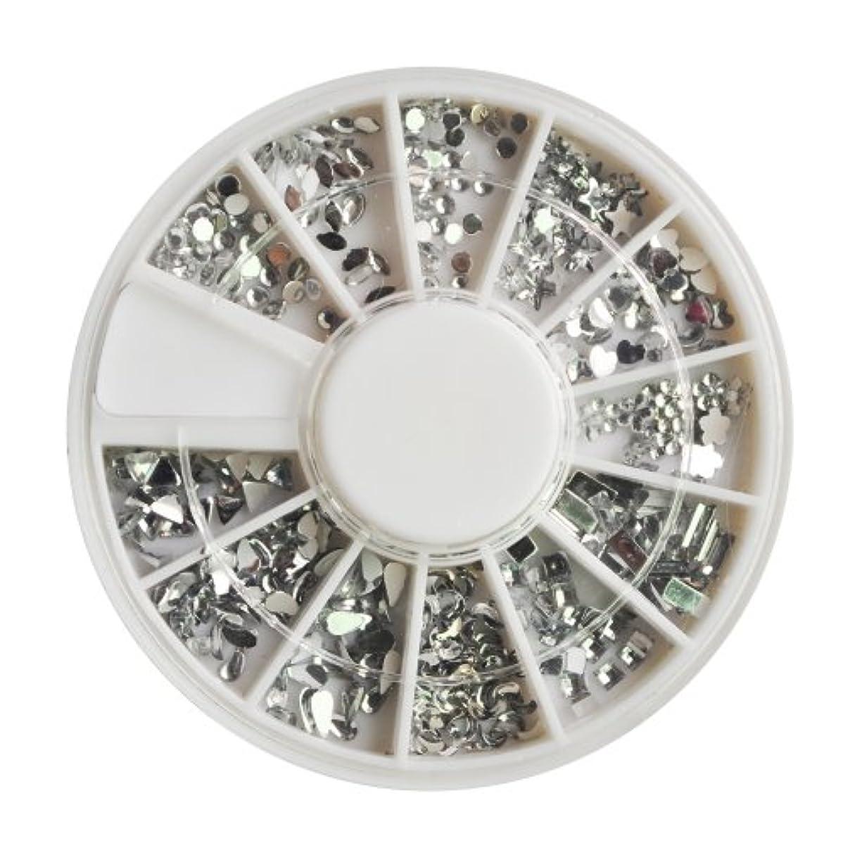 最小化する主要な研究Vaorwne 12個さまざまな形や大きさ、女性の爪、楽しさと美しさがあるのアクセサリー1200クリスタルプレミアム品質の宝石のネイルアートシルバームーンストーンパックトップコートや爪の接着剤で適用が容易