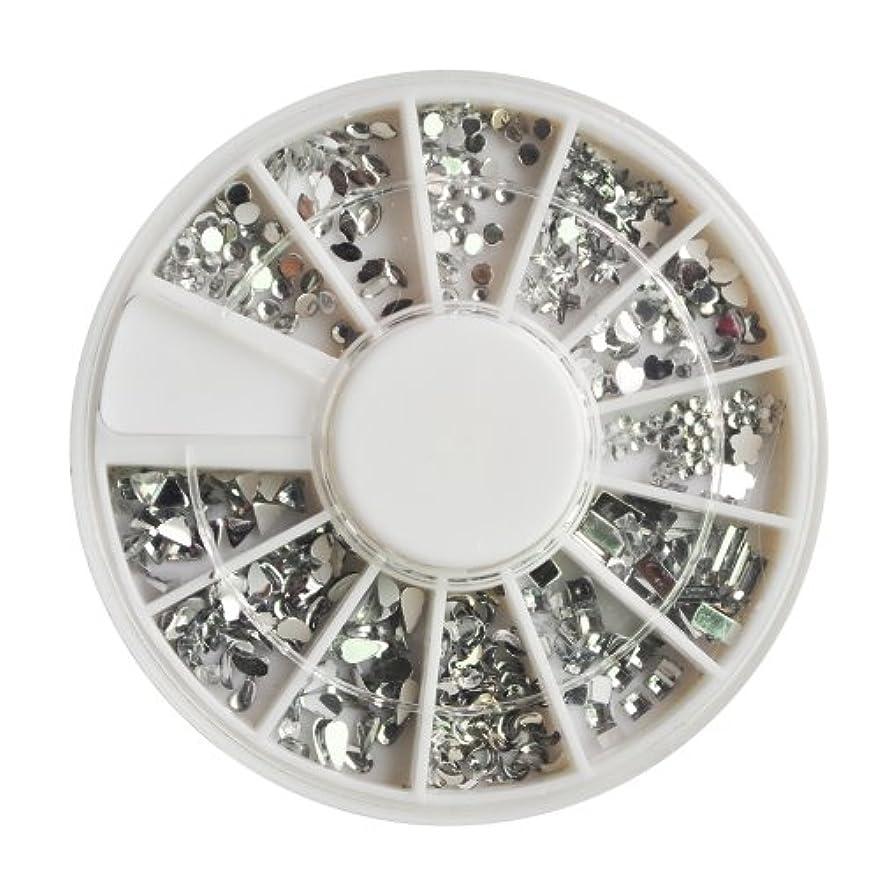 起きろ適応する定期的にNrpfell 12個さまざまな形や大きさ、女性の爪、楽しさと美しさがあるのアクセサリー1200クリスタルプレミアム品質の宝石のネイルアートシルバームーンストーンパックトップコートや爪の接着剤で適用が容易