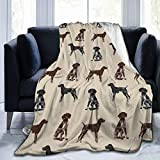 German Shorthaired Pointer Dogs GSP Dog Cute Black and White Liver Fleece Throw Blanket | Super Soft, Microfiber Fleece Blanket Throw | Luxurious Tv Blanket for Couch Sofa 60X50 Inch