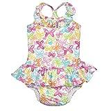 アイプレイ I play 水着 ワンピース ラッシュガード オムツ機能付 水遊びパンツ 女の子 M:12ヶ月/8-10kg White Butterfly
