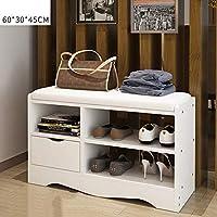 YNN 2層木製の白い靴のラック多機能靴のベンチ (色 : B, サイズ さいず : 80*30*45CM)