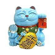 風水招き猫水晶玉付き 大 (青)
