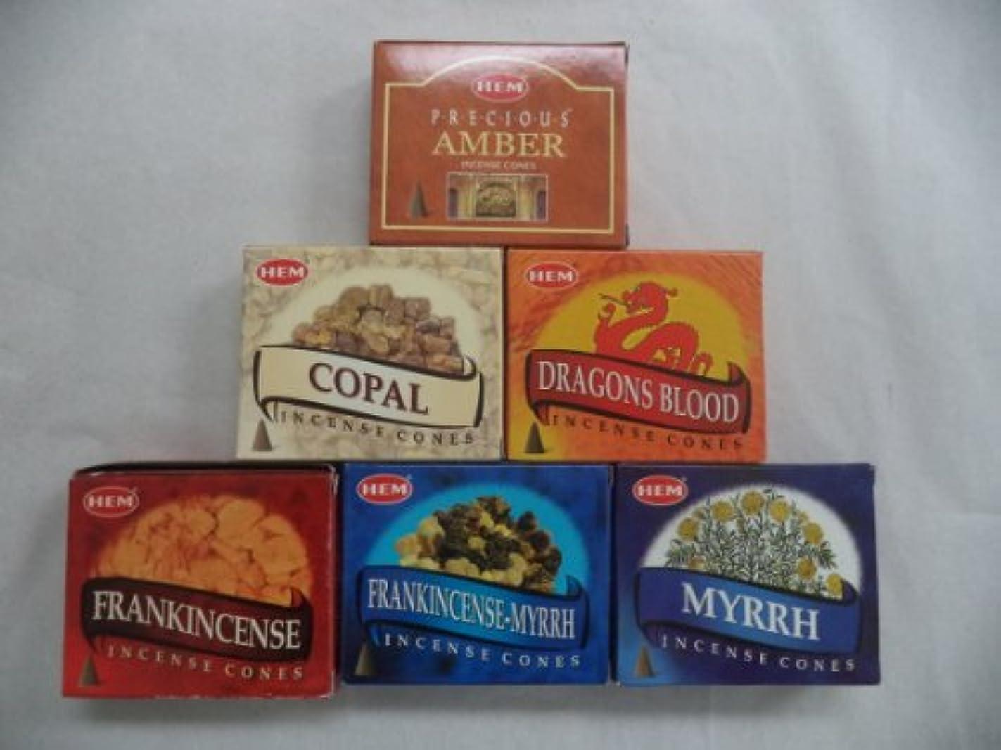 Hem Traditional Resin Sampler Incense Cones, 6 Packs of 10 Cones = 60 Cones by Hem