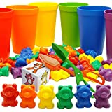 Rainbow Counting Bears with Sorting Cups and Dice - 70pc Set