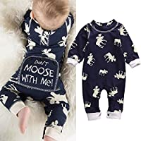 Aliven Baby Boys' Long Sleeve Deer Romper Jumpsuit Pajamas XMAS Outfit